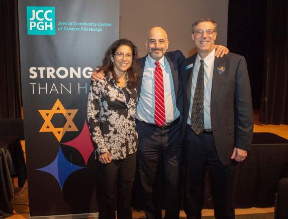 Ivy Harlev, Executive Director of Siegel JCC; Doron Krakow, President & CEO of JCC Association; and Brian Schreiber, President & CEO of JCC Pittsburgh